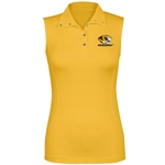 Mizzou Women's Tiger Head Gold Sleeveless Polo