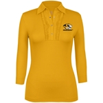 Mizzou Women's Tiger Head Gold 3/4 Sleeve Polo