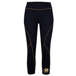 Mizzou Juniors' Tiger Head Black Compression Fitness Leggings