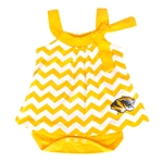 Mizzou Tiger Head Gold Chevron Dress Onesie