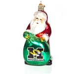 Missouri Tiger Head Glass Santa with Bag Ornament