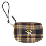 Mizzou Tiger Head Official Plaid Wristlet