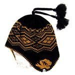 Mizzou Tiger Head Sherpa Lined Black & Gold Beanie with Tassels