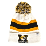Mizzou Tiger Head White Striped Beanie