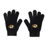Mizzou Oval Tiger Head Black Gloves