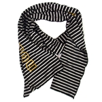 Mizzou Oval Tiger Head Black & White Striped Scarf