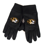 Mizzou Oval Tiger Head Black Texting Gloves