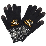 Mizzou Women's Tiger Head I-Touch Snowflake Gloves