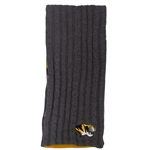 Mizzou Tiger Head Reversible Grey Cable Knit Scarf