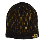 Mizzou Women's Tiger Head Black Lace Reversible Beanie