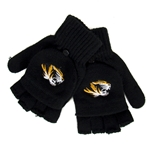 Mizzou Tiger Head Black Fingerless Gloves