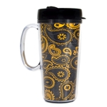 Mizzou Black Official Paisley Travel Tumbler with Handle