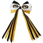 Mizzou Tiger Head Black & Gold Streamer Hair Bow