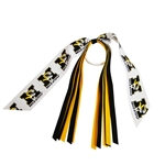 Mizzou Tiger Head Black & Gold Ponytail Streamer