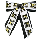 Mizzou Tiger Head Jumbo Cheer Black & Gold Ponytail Holder