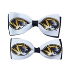 Mizzou Tiger Head Black & White Hair Bow Set