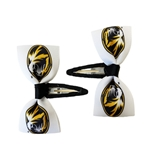 Mizzou Tiger Head Black & White Hair Clip Set