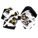 Mizzou Tiger Head Black & White Double Hair Bow