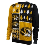 Mizzou Oval Tiger Head Black & Gold Holiday Sweater