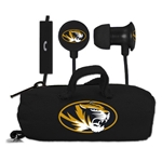 Mizzou Oval Tiger Head Black Earbuds