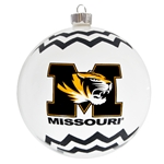 Mizzou Tiger Head Black & White Chevron Ornament