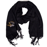 Mizzou Rhinestone Tiger Head Black Scarf