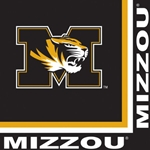 Mizzou Tiger Head Black Napkins