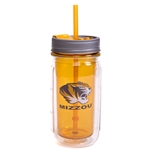 Mizzou Tiger Head Plastic Mason Jar Insulated Gold Tumbler with Straw