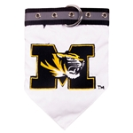 Mizzou Tiger Head White Pet Collar with Bandana