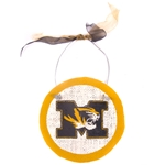 Mizzou Tiger Head Gold Circular Burlap Sign
