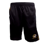 Mizzou Tiger Head Black Shorts with Gold Piping
