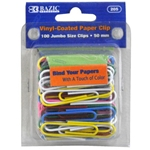 Bazic Jumbo Assorted Color Paper Clips - 100 Pack