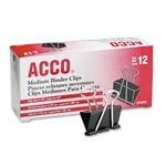 Acco Black Medium Binder Clips - 12 Pack