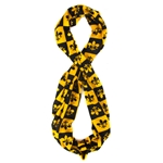 Black & Gold Checkered Fleur-De-Lis Infinity Scarf