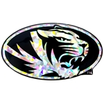 Mizzou Oval Tiger Head Silver Reflective Car Sticker