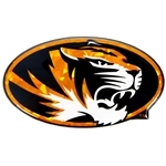 Mizzou Oval Tiger Head Gold Reflective Car Sticker