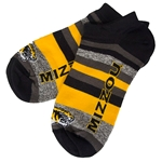 Mizzou Tiger Head Gold & Grey Ankle Socks
