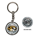 Mizzou Oval Tiger Head Camouflage Spinner Keychain
