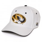 Mizzou Oval Tiger Head White Stretch-Fit Hat