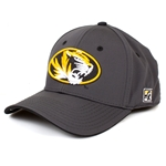 Mizzou Oval Tiger Head Charcoal Stretch-Fit Hat