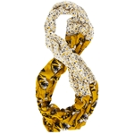 Mizzou Tiger Head Gold Floral Infinity Scarf