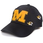 Mizzou Tiger Head Black Felt Adjustable Hat