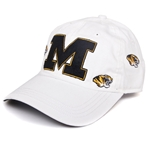 Mizzou Tiger Head White Felt Adjustable Hat