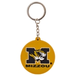 Mizzou Tiger Head Black & Gold Circular Keychain