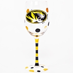 Missouri Tigers Black & Gold Hand Painted Wine Glass