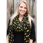 Missouri State Outline Black & Gold Scarf