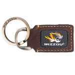 Mizzou Tiger Head Brown Leather Keychain