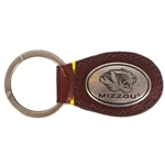 Mizzou Tiger Head Brown Leather with Silver Keychain