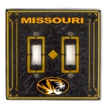 Missouri Black & Gold Art Glass Double Light Switch Plate Cover