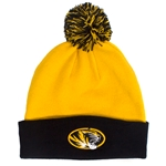 Mizzou Oval Tiger Head Black & Gold Cuffed Beanie with Pom